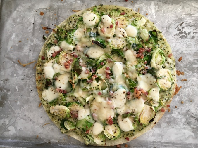 Brussel Sprout Pizza with Pesto Ricotta Base
